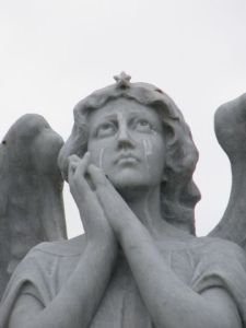 crying angel close-up