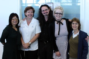 From left, Stephanie Laurens, Sue Gammon, Jason Nahrung,Kirsty Brooks, Sandy Curtis at Booked in Bundaberg