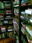 crammed book shelves