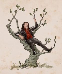 kathleen jennings illo of Jason Nahrung up a tree