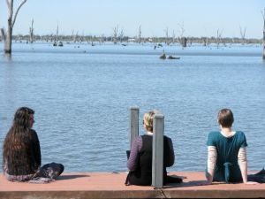 writers soaking up the sun at Lake Mulwala