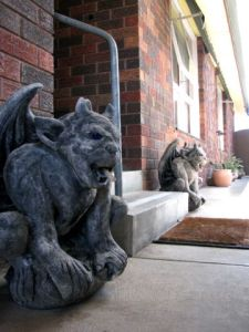 gargoyles at the front door