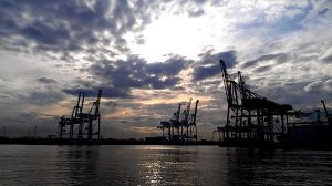 Cranes seen from Williamstown Ferry