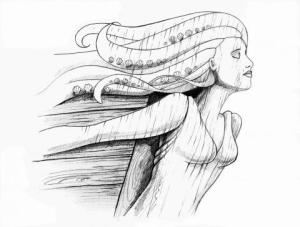 Figurehead illo by Vicky Pratt from And Then... adventure anthology
