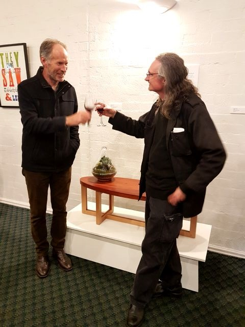 Neale Thompson, who made the exquisite coffee table in the background drawing on my piece 'Ghosts of Us'